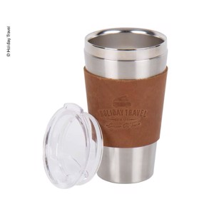 Stainless steel vacuum cup HOLIDAY TRAVEL 450ml, with leather sleeve