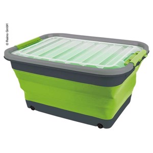 Storage box 30l foldable with lid and wheels, 54,5 x 39,7 x 9,6 / 27,5cm