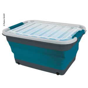 Storage box 45l foldable with lid and wheels, 61 x 45 x 10 / 30,4cm