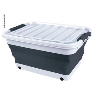 Storage box 65l foldable with lid and rolls, 72 x 53 x 10 / 31cm