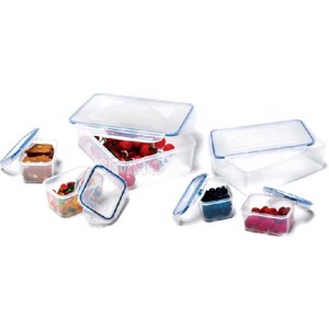 Storage cans and food storage can set, transparent with lids, 6 parts