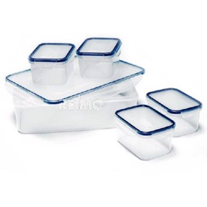 Storage cans and food storage cans set, transparent with lids, 5 parts
