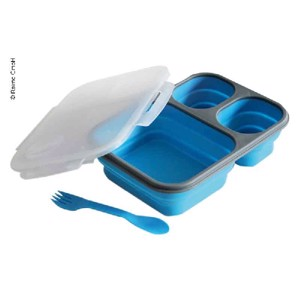 Large lunchbox with 3 compartments, 1 sauce compartment and cutlery
