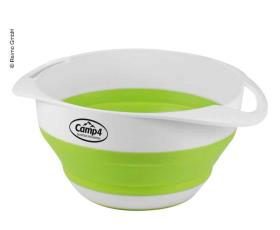 camping Silicone bowl + sieve, foldable, set, white/lime