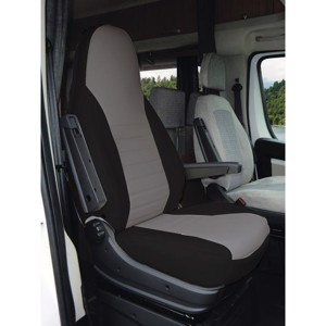 2 pcs. black:imitation leather, grey:microfibre, with headrest