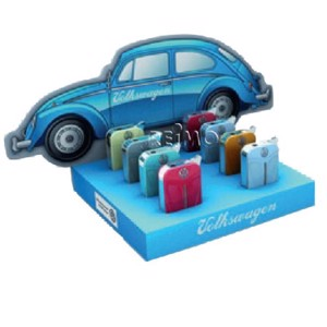 VW Collection lighters, display, VW Beetle front, 8 pieces in 4 colors