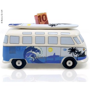 VW Collection money box Bulli Surf with surf board, porcelain