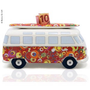 VW Collection money box Bulli Bubble with surfboard, porcelain