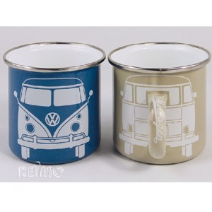 VW collection enamelled cups blue+grey set of 2