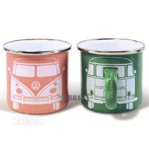 VW collection enamel cup green+apricot set of pieces