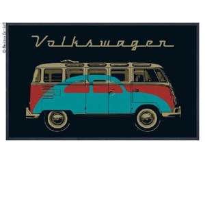 VW Collection Bulli door mat, black BUS+KÄFER, 75x50cm, 100%Nylon
