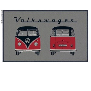 VW Collection Bulli door mat, grey FRONT+HECK, 75x50cm, 100%nylon