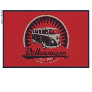 VW Collection Bulli door mat, red VINTAGE BUS LOGO, 75x50cm, 100%nylon
