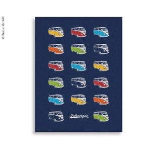 VW Collection Fleece Blanket BULLI PARADE, blue, 150x200cm