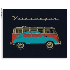 VW Collection fleece blanket BUS+KÄFER, black, 150x200cm