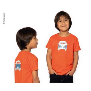 "T-Shirt KIDS ""Bulli Front ""VW, size 128/134, 100% cotton tomato red"