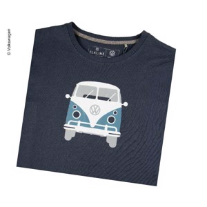"T-Shirt Men ""Bulli Front"" VW, size L, dark blue, 100% cotton"