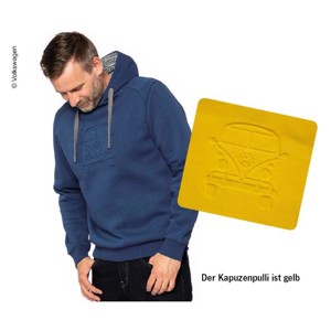 Hooded sweatshirt VW Bulli, size S, yellow, 65% cotton/35% polyester