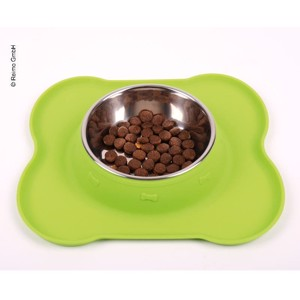 Stainless steel dog bowl with FRIDA silicone pad 400ml, 27x25x4,5cm