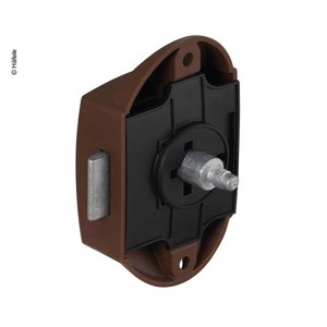 Screw-on bolt lock, push lock one-sided operation 25mm, brown